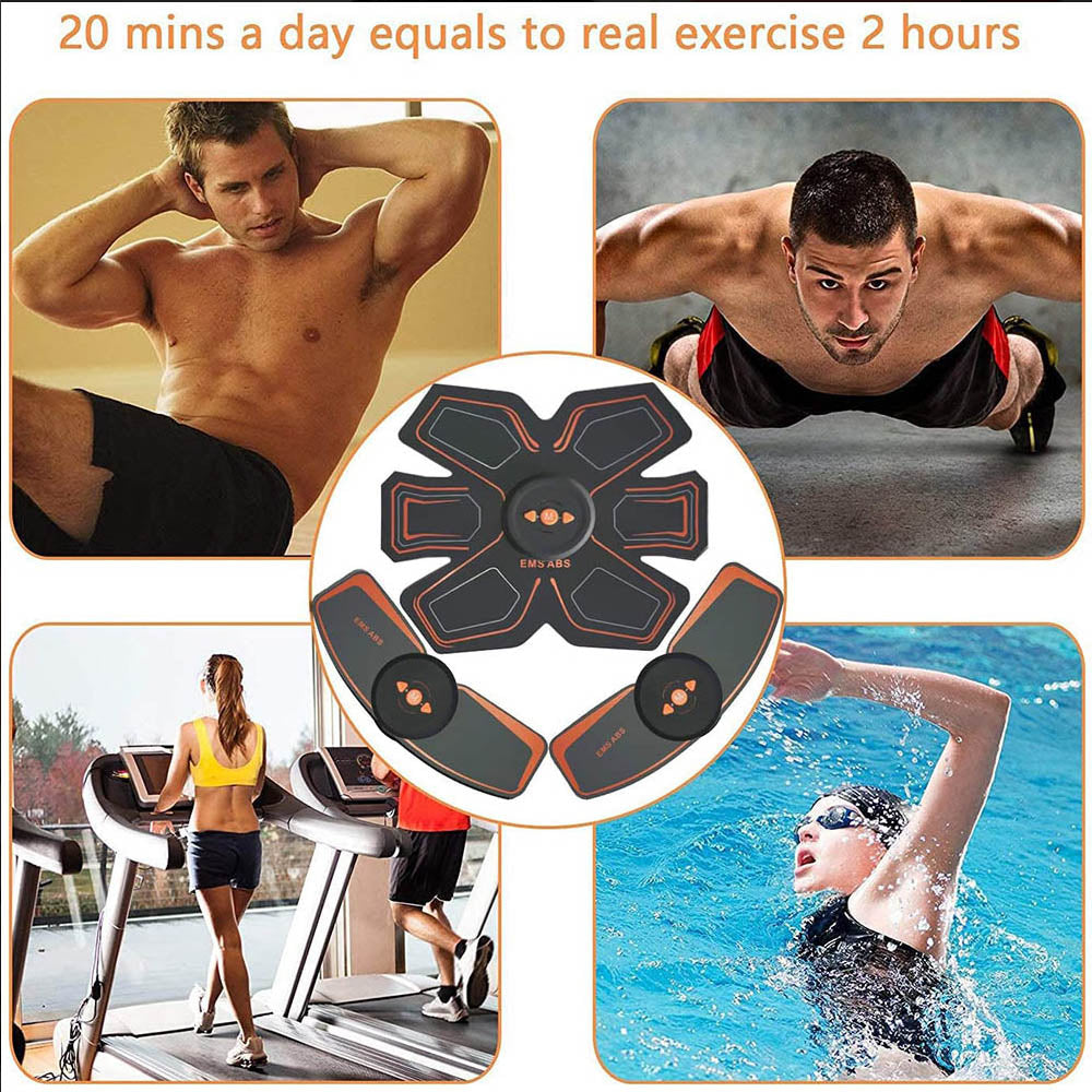 Electric Abdominal Muscle Stimulator EMS Abs Hip Trainer Home Gym with USB Rechargeable Fitness Massager Body Slimming Massager