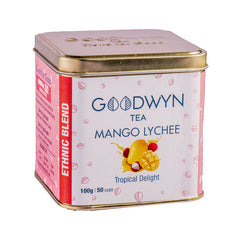 Goodwyn Mango Lychee Infusion Tea | Black Tea with Dried Mango | Freshly Packed - 100 Gms (50 Cups)