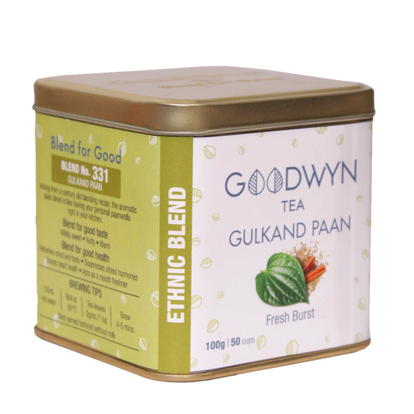 Gulkand Paan Tea with aromatic paan blend, 100 Grams, Makes 50 Cups