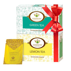 Goodwyn Lemon Tea, Fragrant And Refreshing Tea, 20 Tea Bags & Green Tea, Pure And Premium Green Tea, 20 Tea Bags Combo