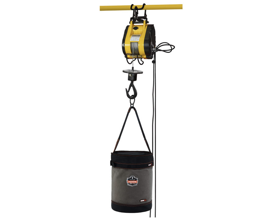 Web handle canvas hoist bucket and top rigging