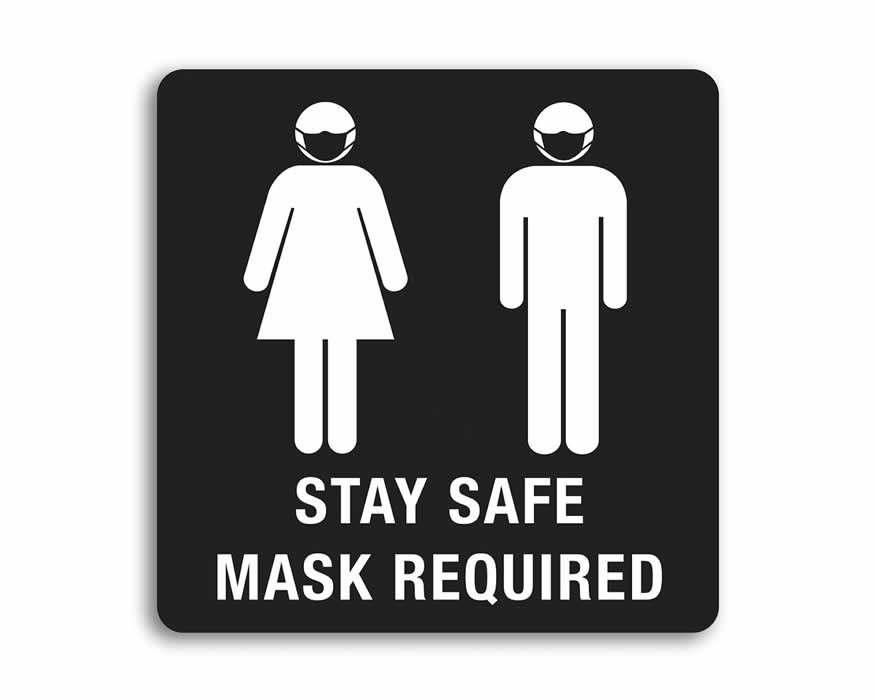 "8"" x 8"" Stay Safe, Mask Required, Black"