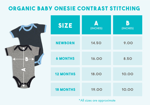 2 A.M. Baby Contrast Stitching Onesie size chart