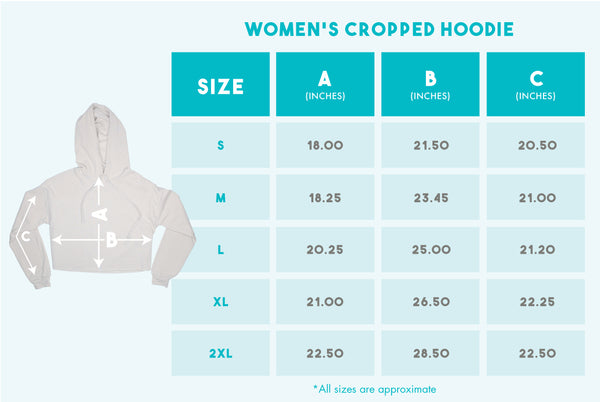 2 A.M. Baby Women's Cropped Hoodie size chart