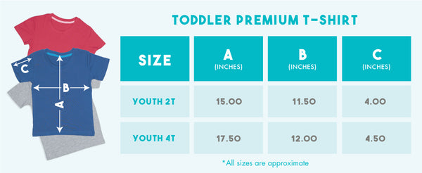 2 A.M. Baby Toddler t-shirt size chart