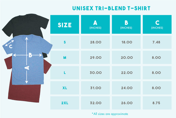 2 A.M. Baby Unisex tri-blend t-shirt size guide