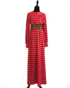 1970s Red Maxi Dress