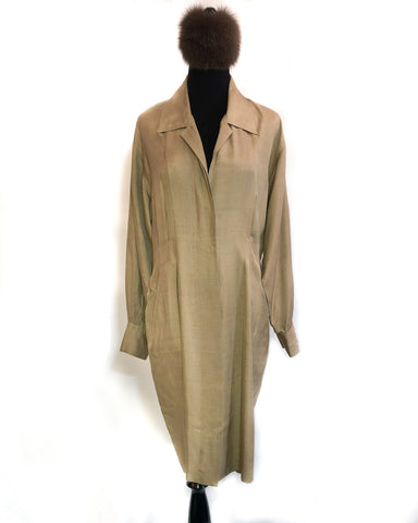 1970s Camel Silk Shirt Dress