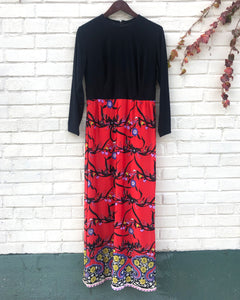 1960's Black and Red Floral Maxi Dress
