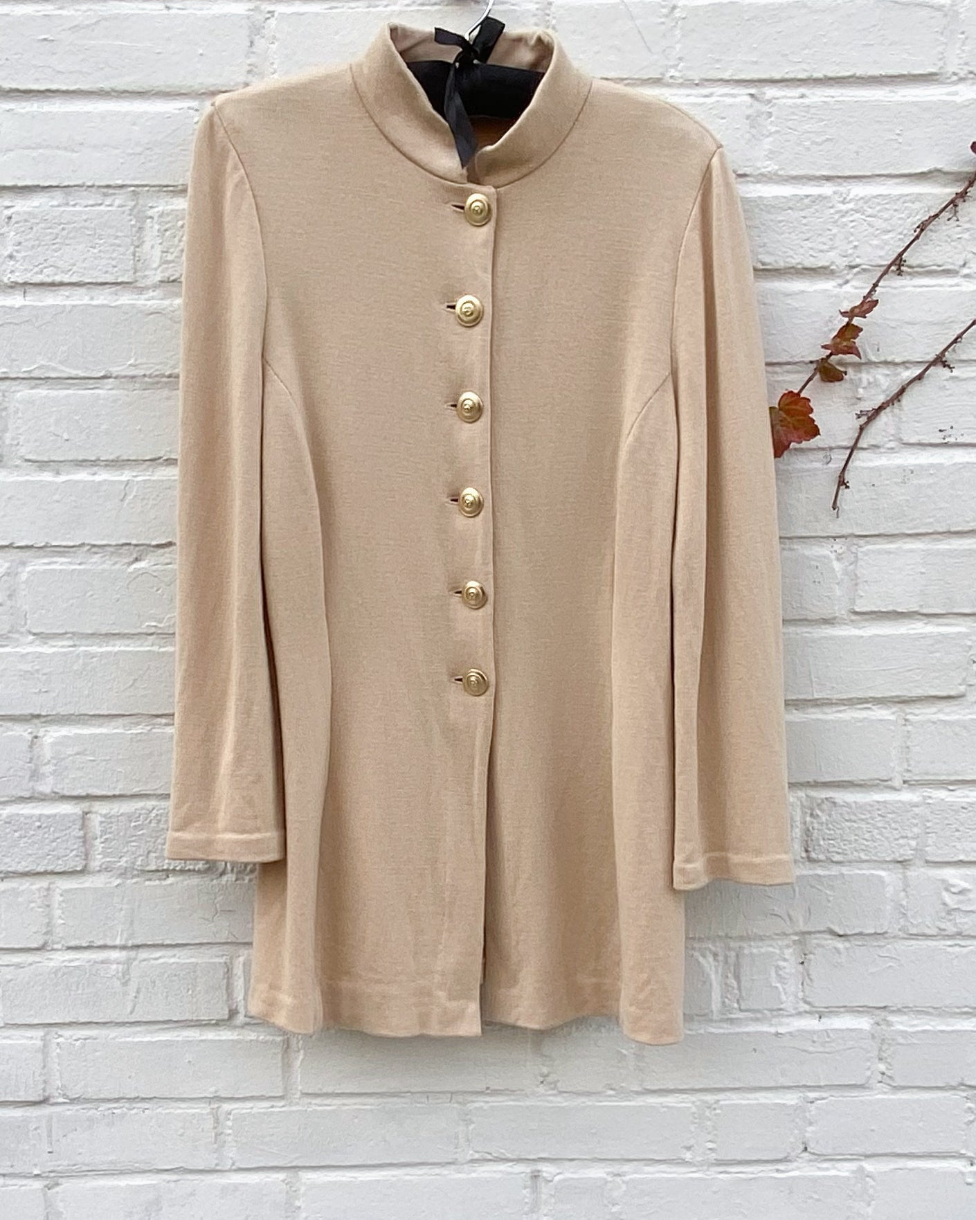 Mao collar Beige  Knit Jacket with Gold bottouns