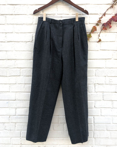 Charcoal Grey Double Tuck High Waist Pant