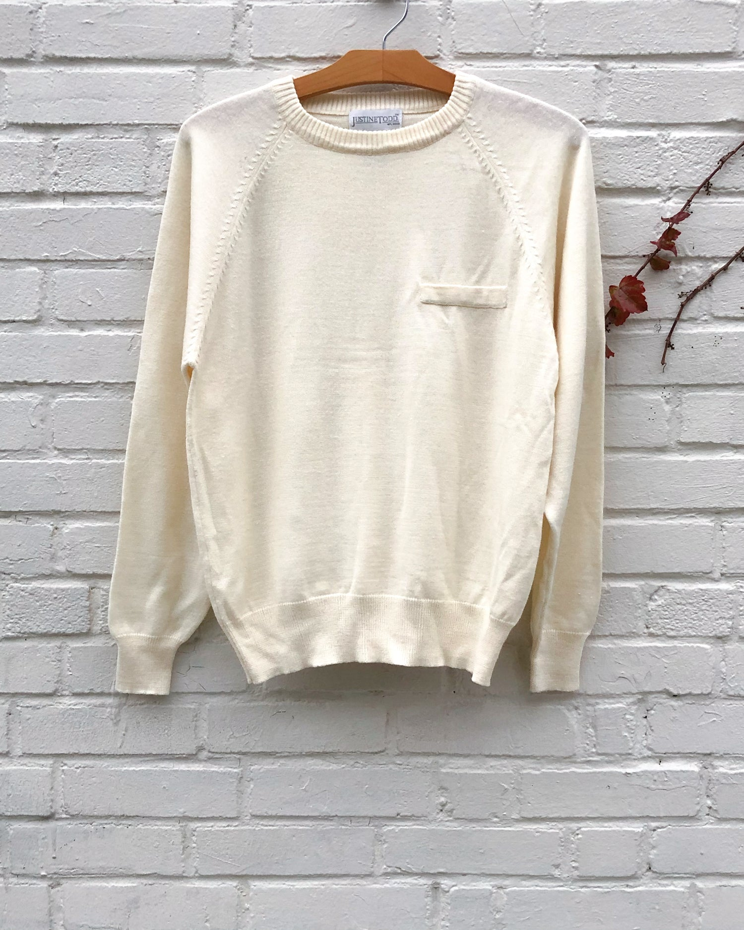 70s Classic Cream Sweater with Pocket
