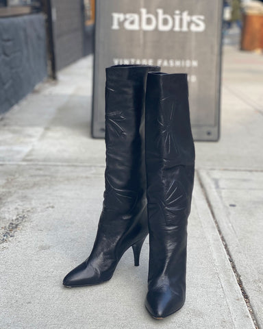1980s Black Leather Calf Length Boots - 38.5