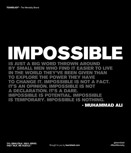"Muhammad Ali Best Quotes - ""Impossible is just a big word thrown around by small men who find it easier to live in the world they've been given than to explore the power they have to change it. Impossible is not a fact. It's an opinion. Impossible is not a declaration. It's a dare. Impossible is potential. Impossible is temporary. Impossible is nothing."""