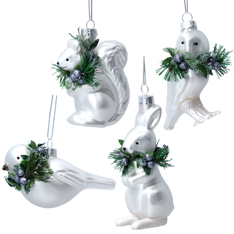 Winter White Glass Animal Decorations - Assorted