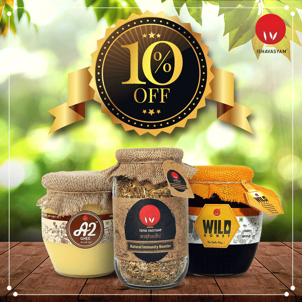 Combo Offers Vedic A2 Ghee + Kerala Wild Forest Honey + Kadha with 10% Off