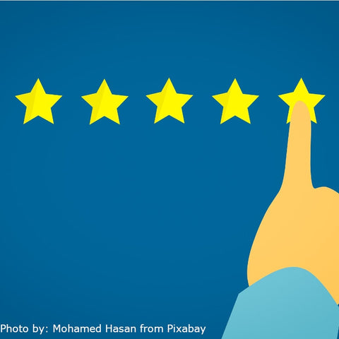 A cartoon like image with 5 stars and a finger pointing at the fifth star outlined on a blue background to represent quality