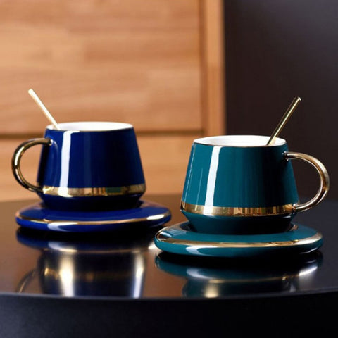 Blue and Green European Style Teacup Gift Set on display