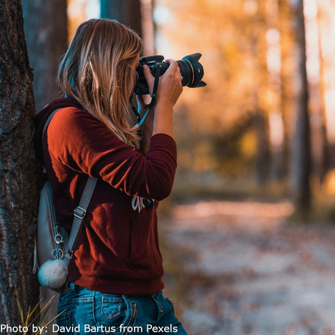 A young lady dressed in a red shirt and blue jeans with a small gray knapsack is leaning on a tree taking a photo of the woods