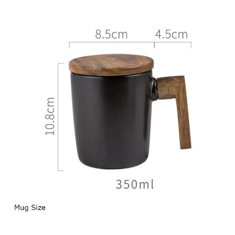 Size specification of the Nordic Ceramic Wooden Handle Mug