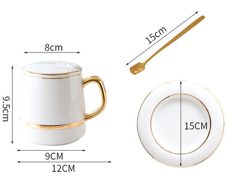 Size dimensions of the European style coffee cup set