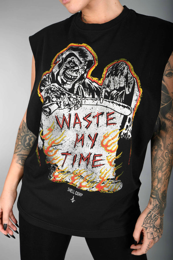 Shell Corp Waste My Time Cut-Off - Black
