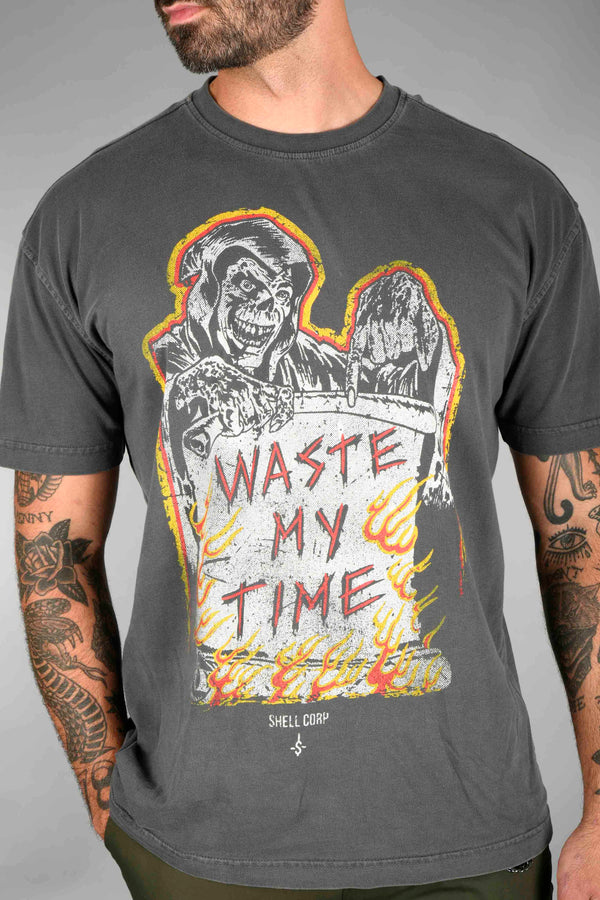 Shell Corp Waste My Time T-Shirt - Coal