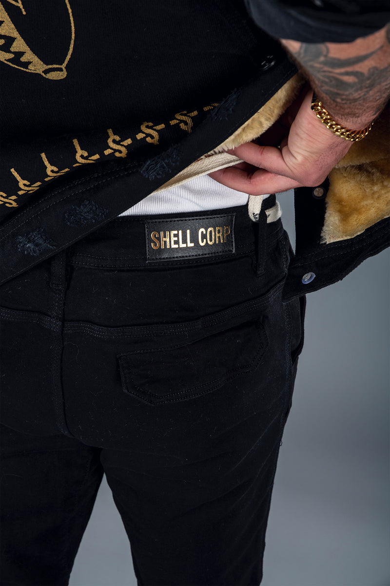 Shell Corp Denim Joggers - Black