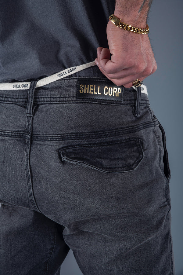 Shell Corp Denim Joggers - Grey