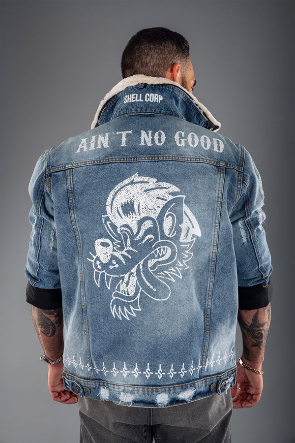 Shell Corp Ain't No Good Denim Fur Jacket - Blue