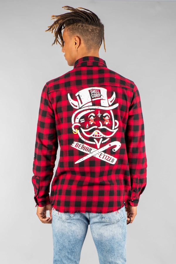 Shell Corp Demon Etized Flannel - Red/Black