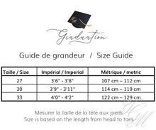 Load image into Gallery viewer, Guide de mesure ensemble de souvenir de graduation pour enfant