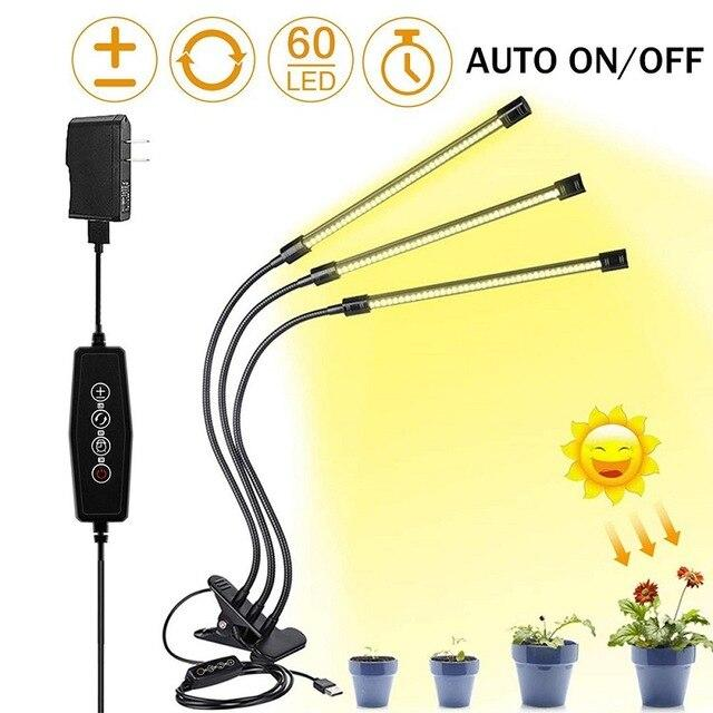 USB Dimmable 30W LED Grow Light Desk Clip Plant Grow Light with timer