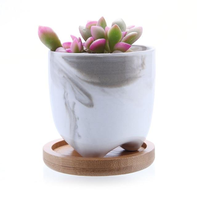 Marble Pot w/ Bamboo Base