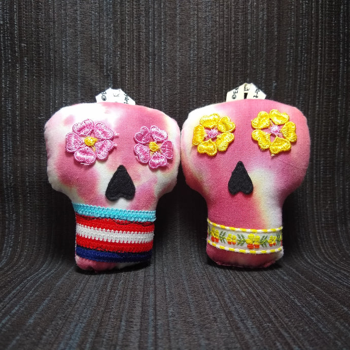 Plush Sugar Skull Ornament Set