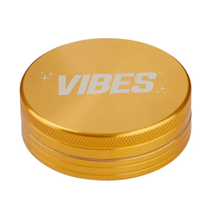 Gold Aluminium 2 Piece Herb Grinder by Vibes x Aerospace
