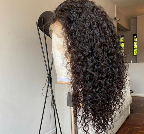 "16"" Curly Handmade wig - With Frontal"