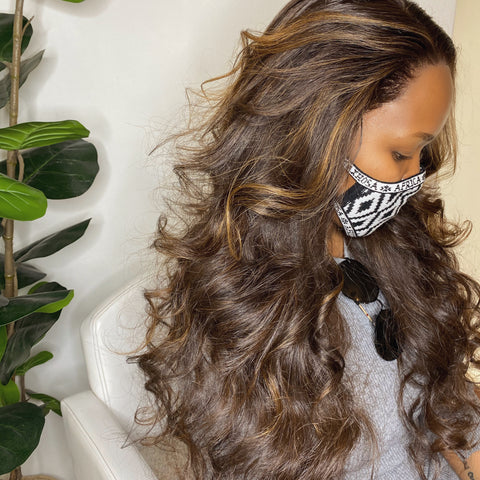 """Money Piece"" Cambodian Hair Handmade wig  - With Swiss HD Lace Frontal"