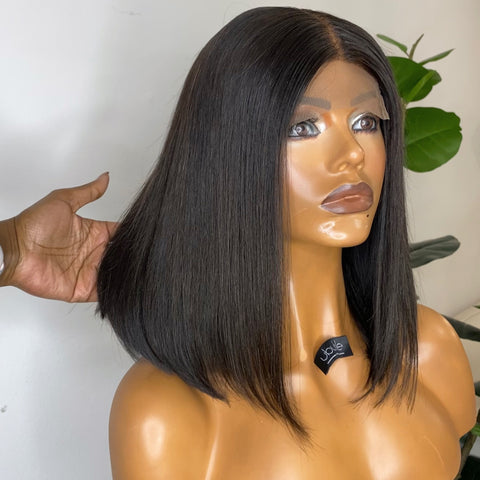 "10"" Raw Cambodian Hair Handmade wig - With Lace Closure"