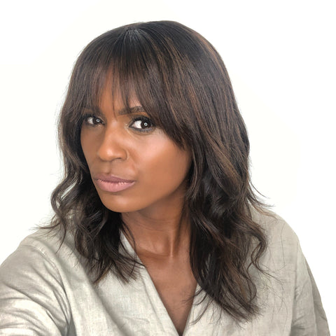 Layered Wig with Bang and Caramel Highlights