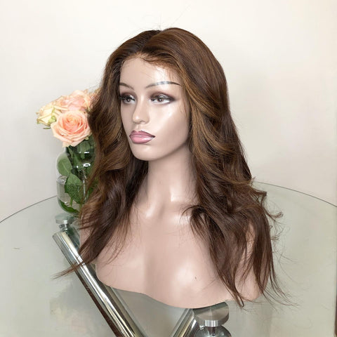"Handmade wig with ""Money Piece"" highlights(16 inches) - With Lace Frontal"