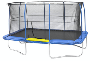 JUMPKING® 10' x 15' Rectangular Trampoline With Enclosure Blue/Yellow