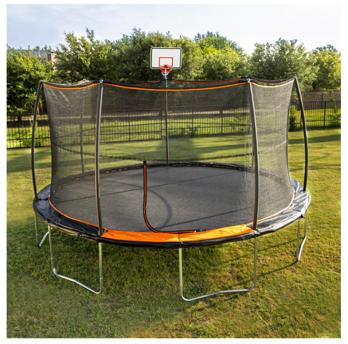 JUMPKING® 15' Trampoline 7 Legs / 7 Poles with Universal Basketball Hoop