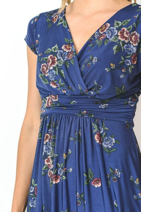 Batik Blooms Dress in Blue