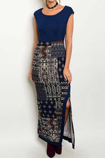 Batik Maxi Dress in Blues