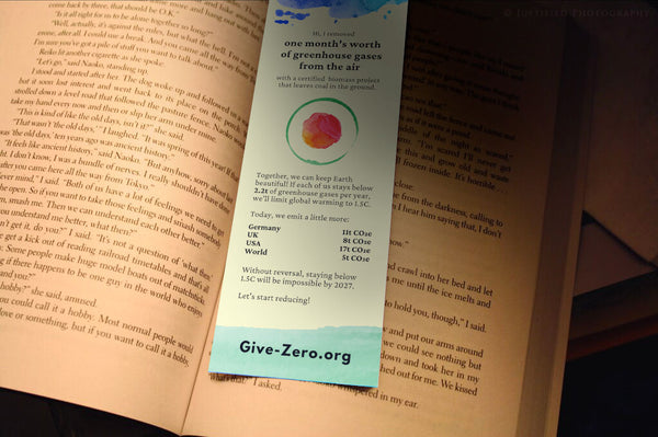 This bookmark removes one month's worth of GHGs from the air