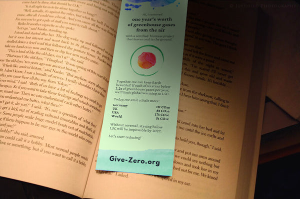 This bookmark removes one year's worth of GHGs from the air