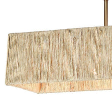 Load image into Gallery viewer, Abaca 5-Light Linear Chandelier in Satin Brass with Abaca Rope