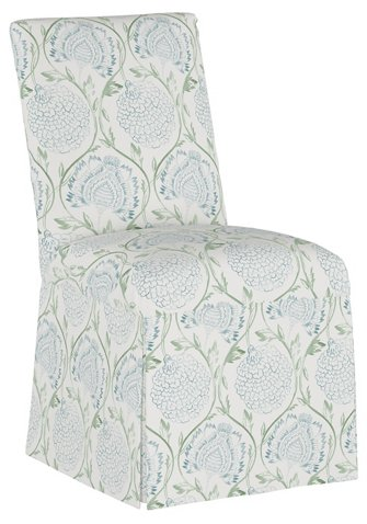 Slipcover Side Chair, Floral Sage