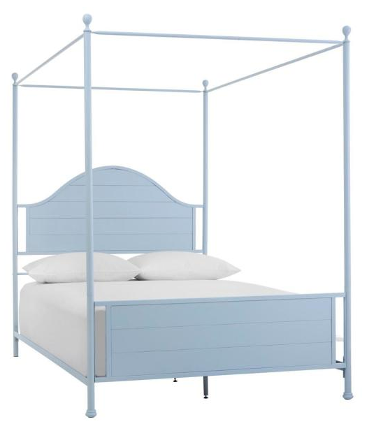 Corlyn Raindrop Blue Metal Queen Canopy Bed with Curved Headboard